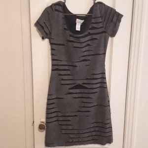 Max studio's gray and blacked ripped dress